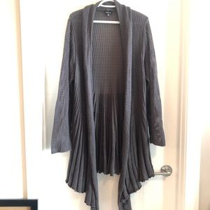 Torrid long grey waterfall knit cardigan
